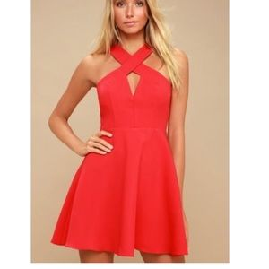 Lulu's red skater Norma dress